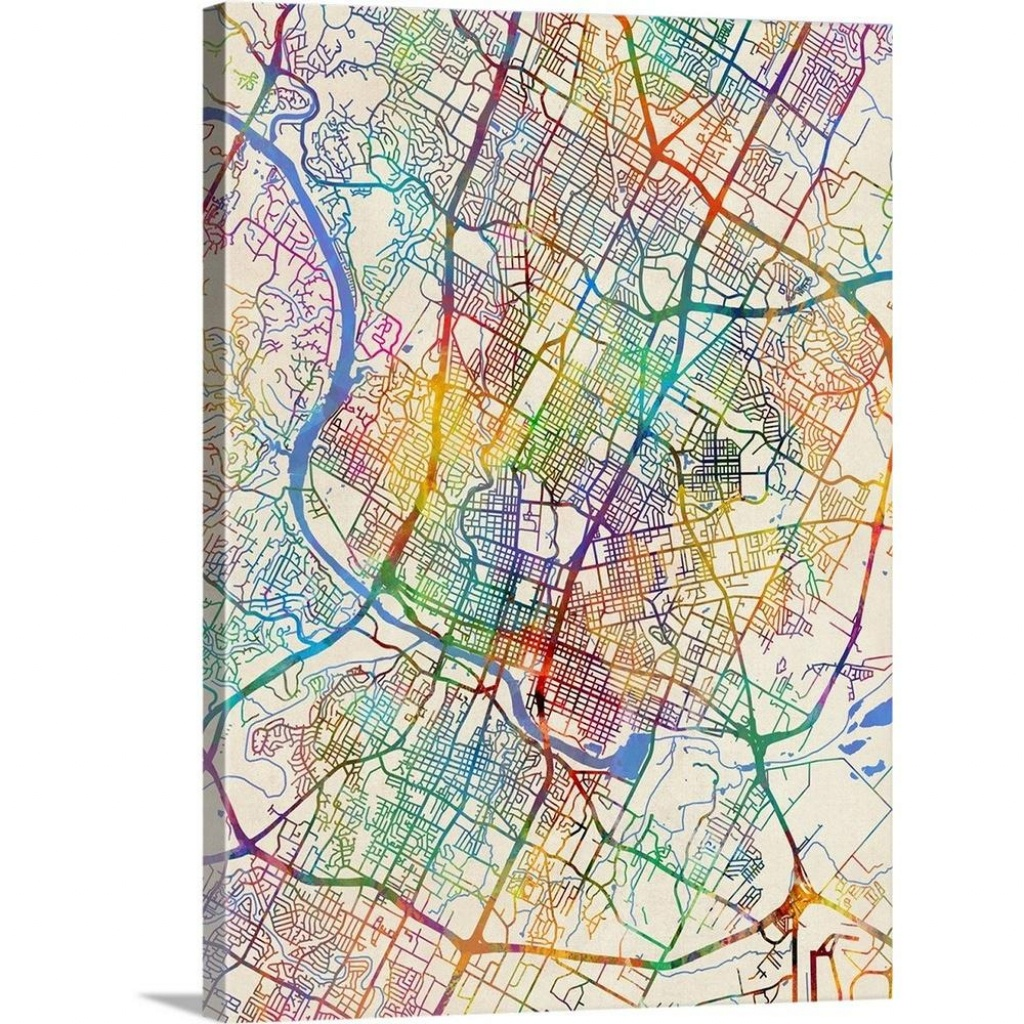 "Greatbigcanvas ""austin Texas City Map""michael Tompsett Canvas - Street Map Of Austin Texas"