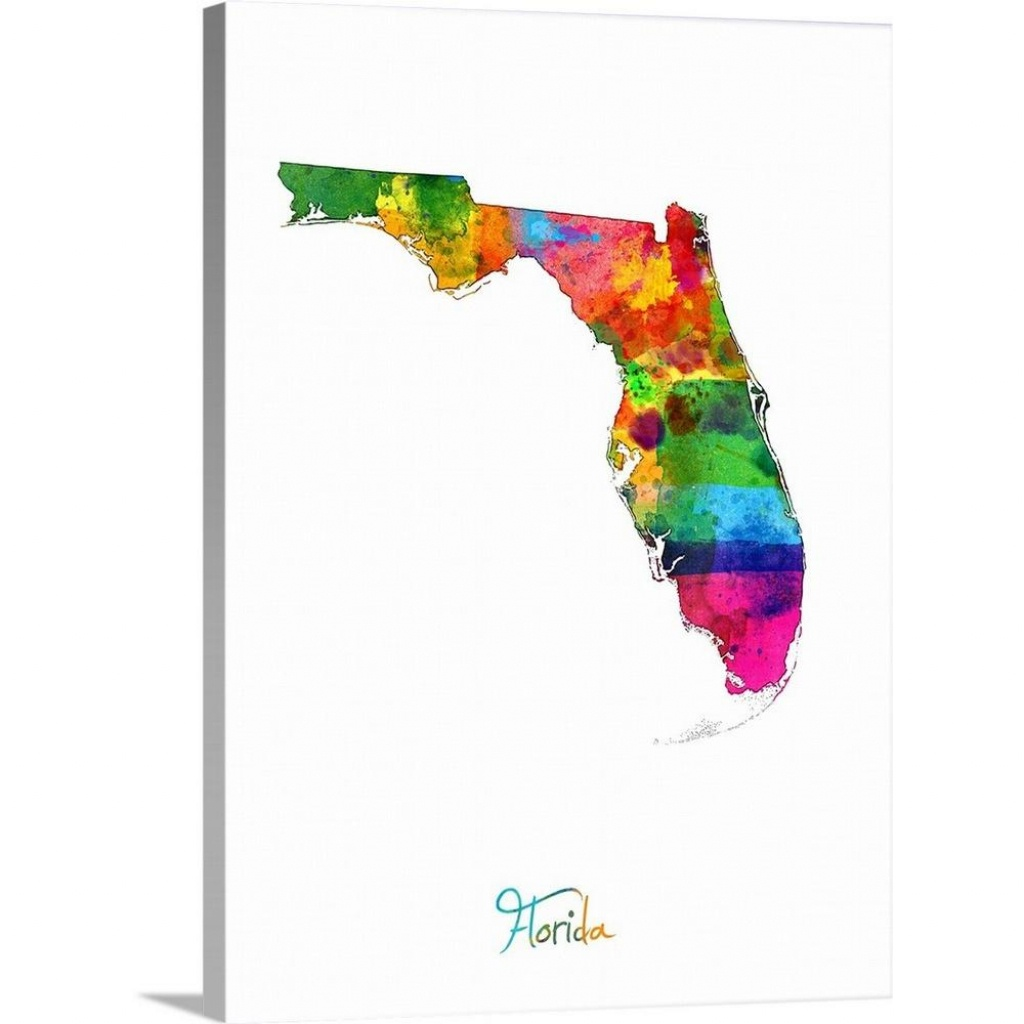 "Greatbigcanvas ""florida Map""michael Tompsett Canvas Wall Art - Map Of Florida Art"
