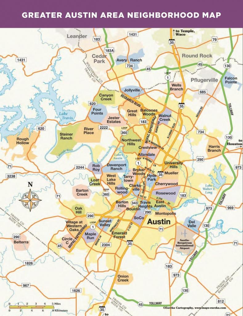 Greater Austin Area Neighborhood Map   More Maps In 2019   Austin - Austin Texas Map
