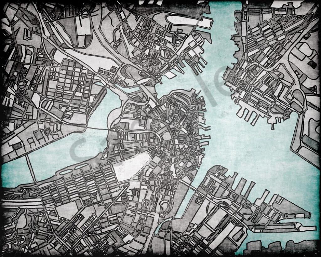 Grey Abstract Map Print –Abstract City Print Of Boston City. Wall Art - Boston City Map Printable