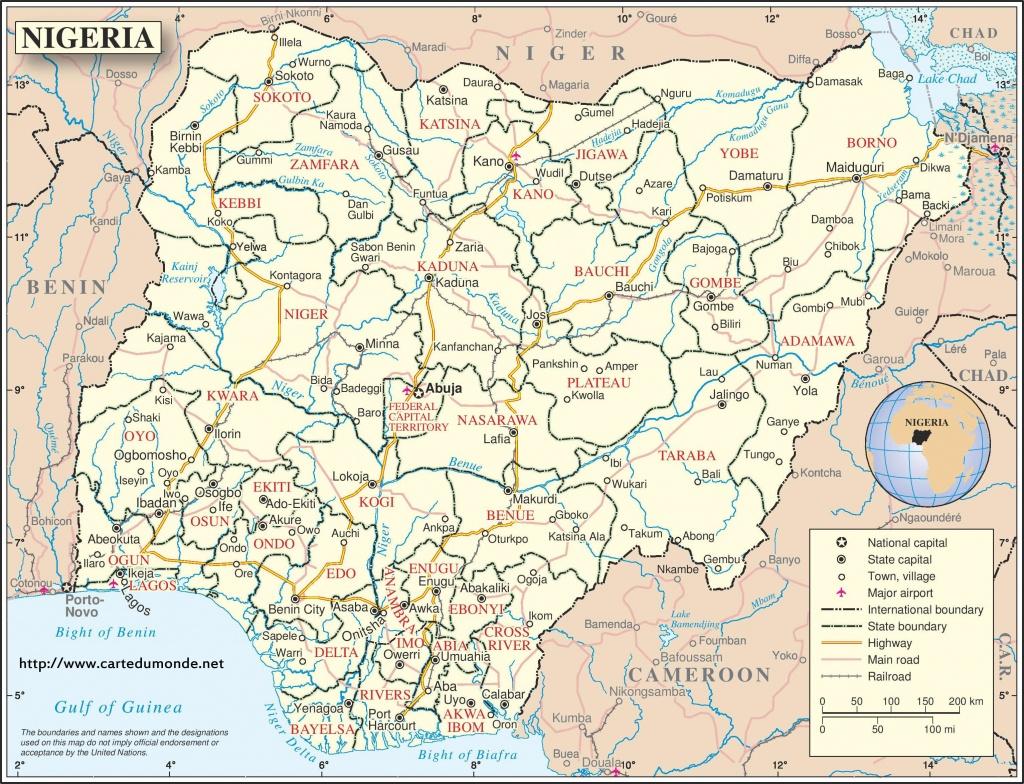 Groot Kaart Nigeria Op De Wereld Kaart - Printable Map Of Nigeria