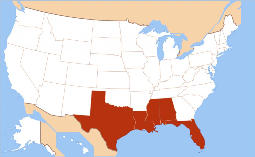 Gulf Coast Of The United States - Wikipedia - Map Of Florida Panhandle Gulf Coast