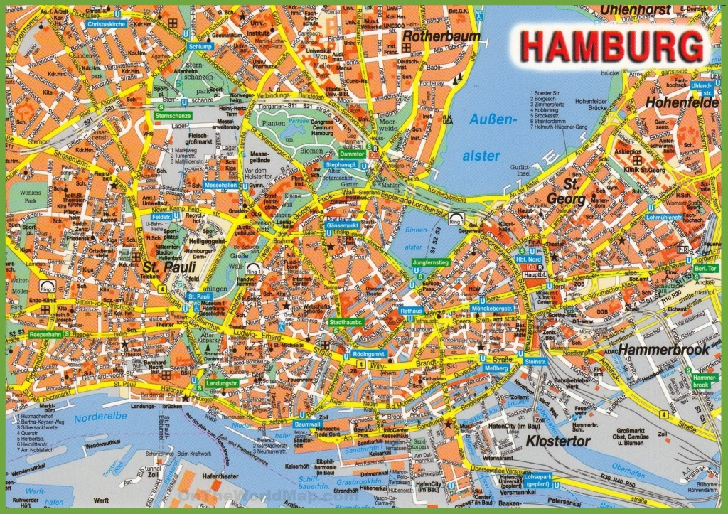 Hamburg Tourist Attractions Map - Printable Map Of Hamburg