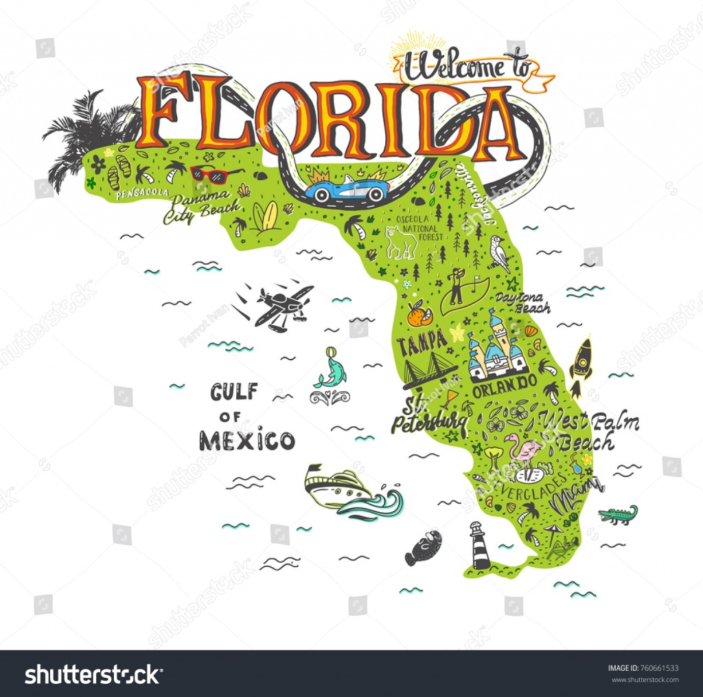 Hand Drawn Illustration Florida Map Tourist Stock Vector (Royalty - Florida Attractions Map