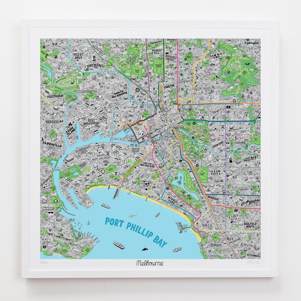 Hand Drawn Map Of Melbourne Art Print | Art Prints, Stationery - Printable Map Of Melbourne