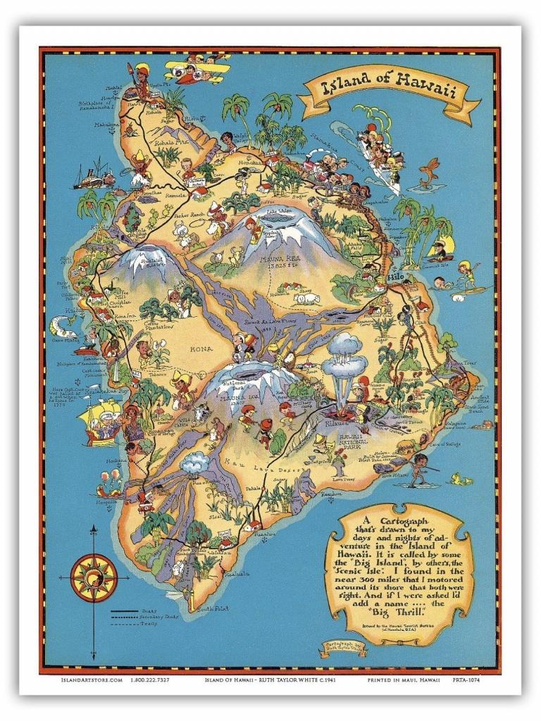 Hawaii Island Map Big Island - White - 1941 Vintage Travel Poster - Big Island Map Printable