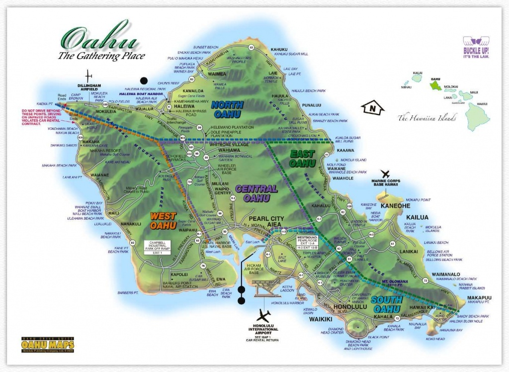 Hawaii Maps: Oahu Island Map - This Highly Detailed Rental Car Road - Printable Map Of Oahu Attractions
