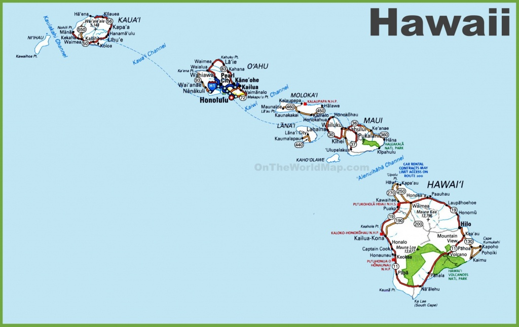 Hawaii Road Map - Printable Map Of Hawaii