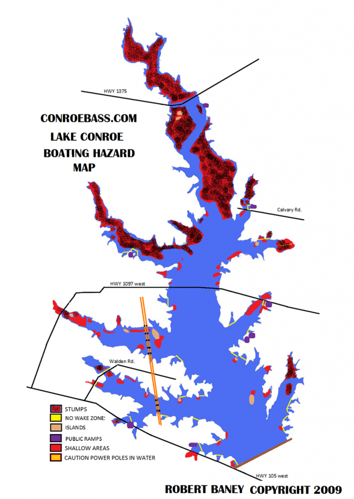 Hazard Map | Lake Conroe Texas | Kayaking | Texas, Our Texas - Texas Fishing Maps Free