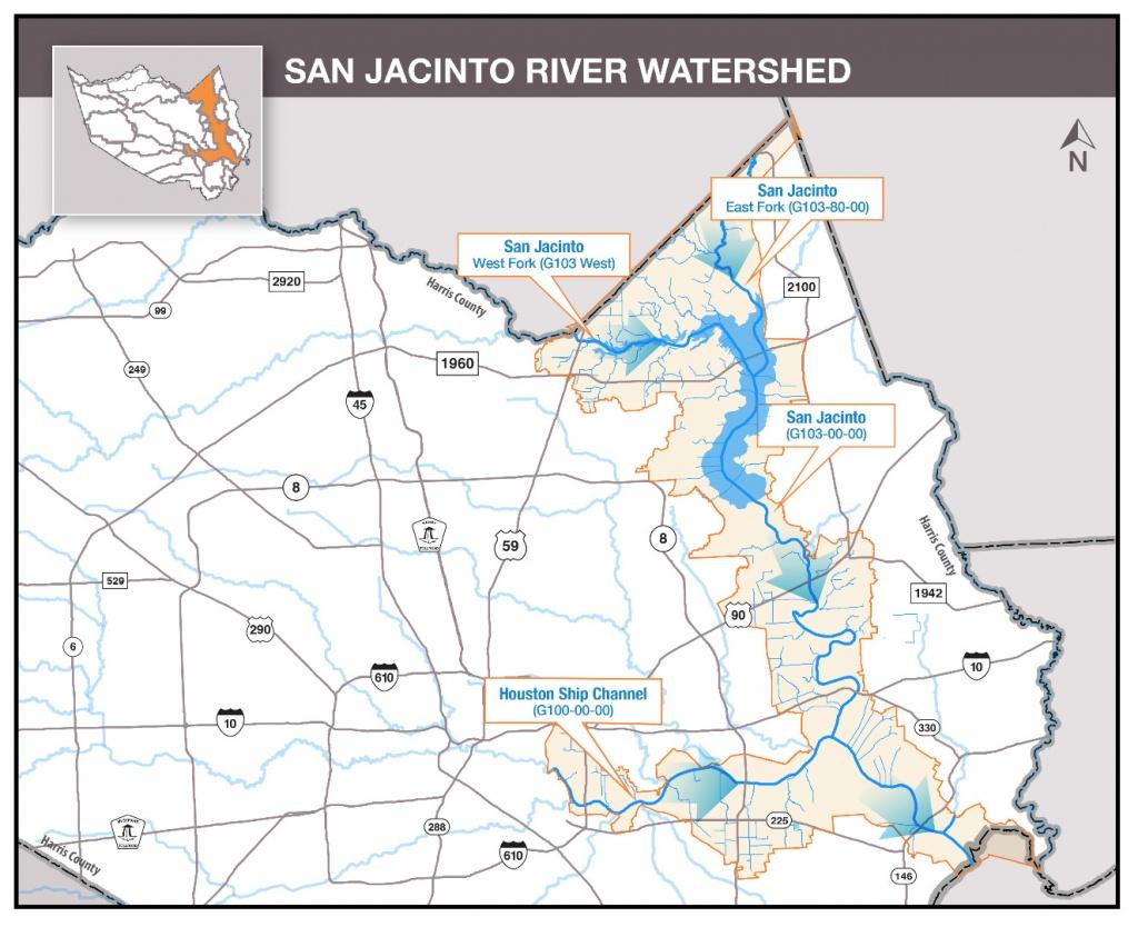 Hcfcd - San Jacinto River - Texas Creeks And Rivers Map