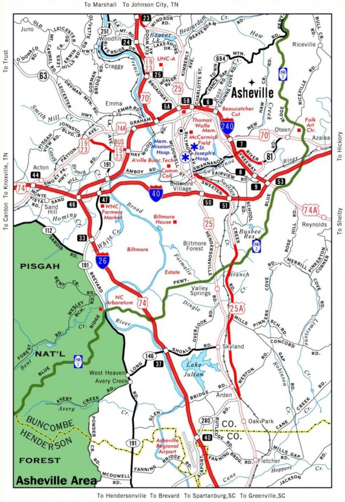 Helpful Travel Map Of Asheville. Stay In The Mountains Nearby At - Printable Map Of Asheville Nc