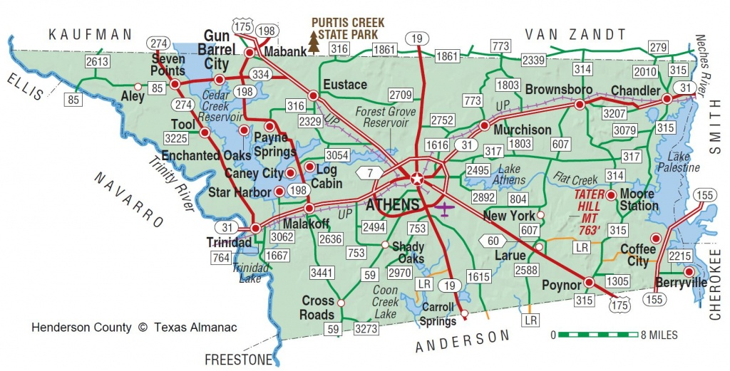 Henderson County | The Handbook Of Texas Online| Texas State - Cedar Creek Texas Map