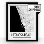 Hermosa Beach Map Poster California Map Print Art Deco   Etsy   Hermosa Beach California Map