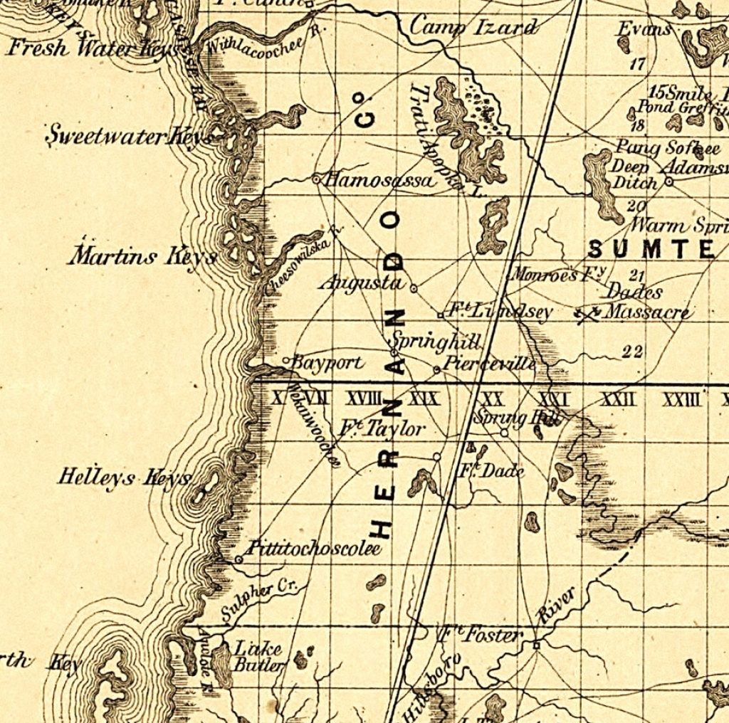 Hernando County, 1859 - Hernando Florida Map