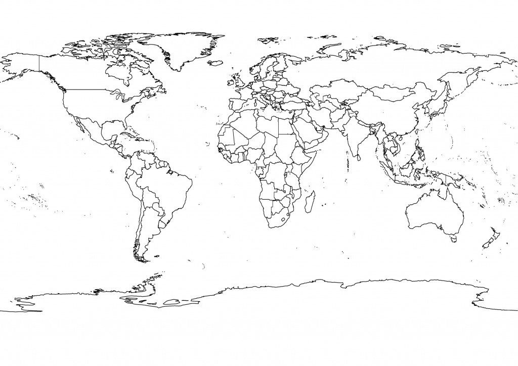 High-Res World Map, Political, Outlines, Black And White | Adventure - Free Printable Black And White World Map With Countries Labeled