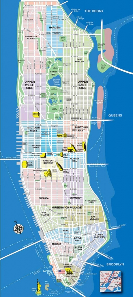High-Resolution Map Of Manhattan For Print Or Download | Usa Travel - Manhattan Sightseeing Map Printable