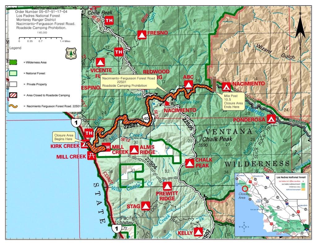 Highway 1 Conditions In Big Sur, California - California Highway 1 Closure Map