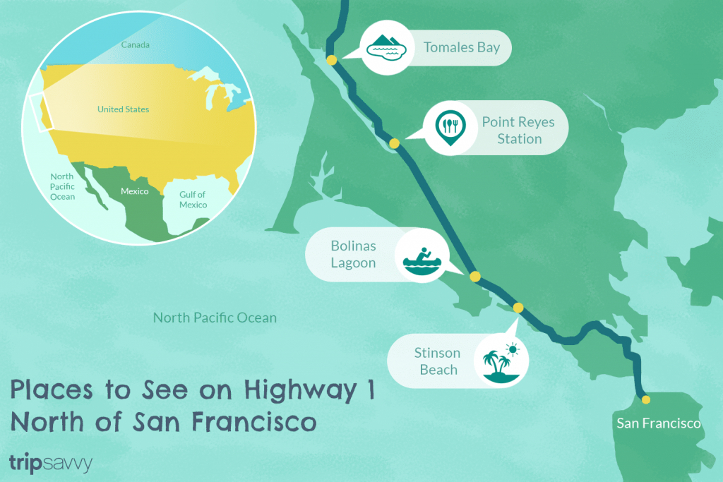 Highway 1 In Northern California - A Drive You'll Love - California Highway 1 Road Trip Map