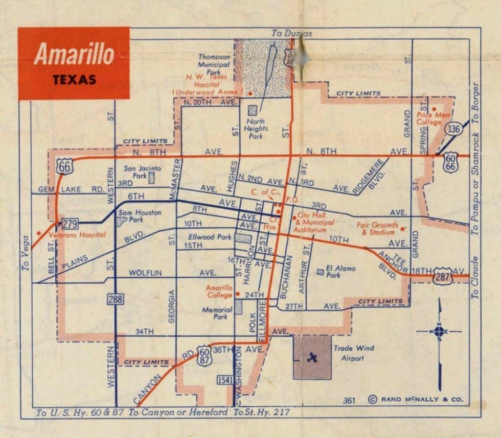 History Of Amarillo, Texas: Map Of Amarillo: C. 1956 - 1960 - City Map Of Amarillo Texas