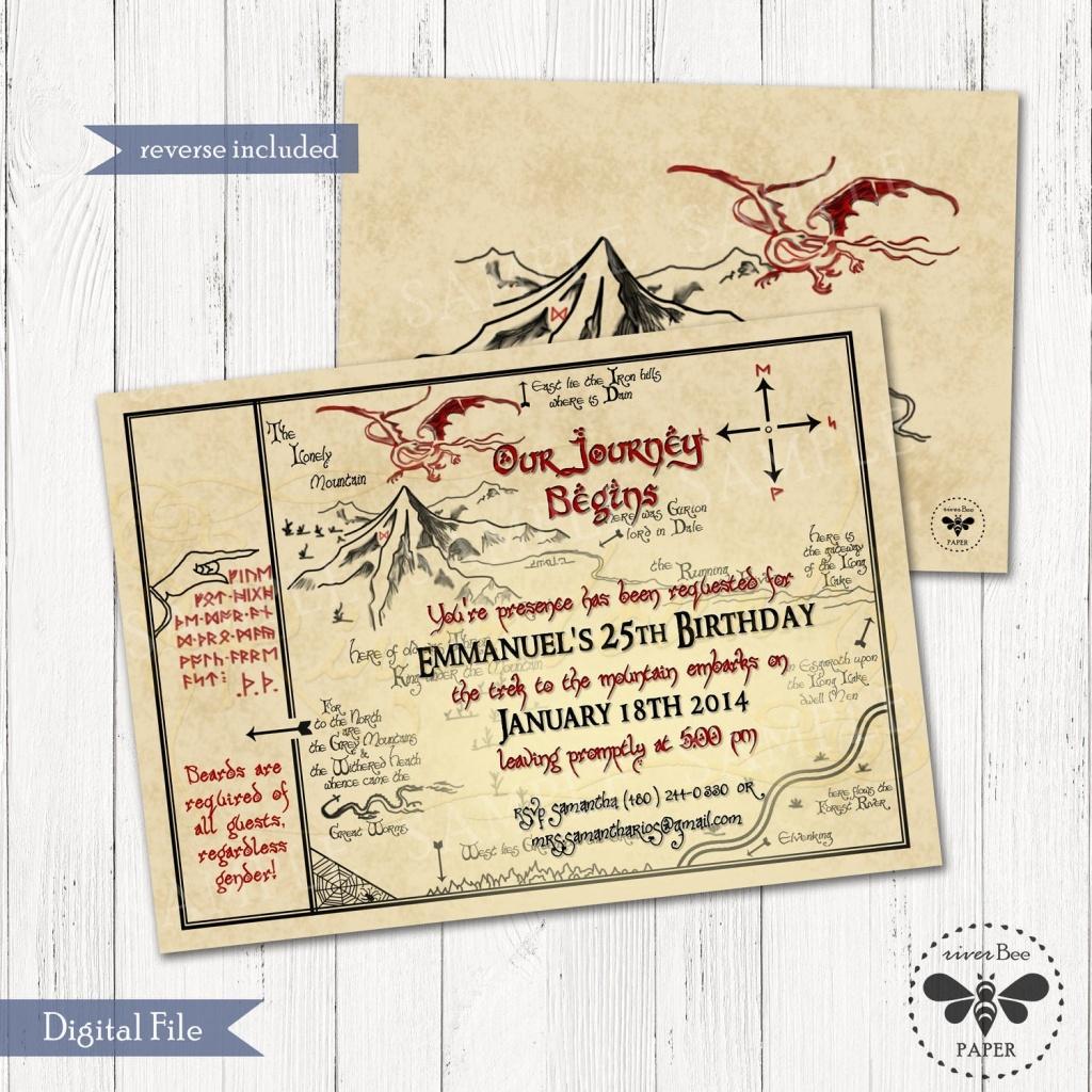 Hobbit Map Birthday Invitation Printable / Digital Smaug | Etsy - Printable Hobbit Map