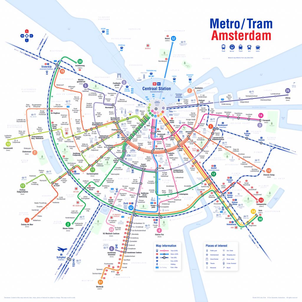 Holland Dutch Train / Rail Maps - Amsterdam Tram Map Printable