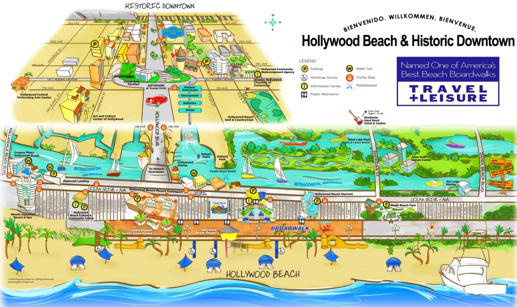 Hollywood Beach And Historic Downtown Map - Hollywood Beach Florida Map
