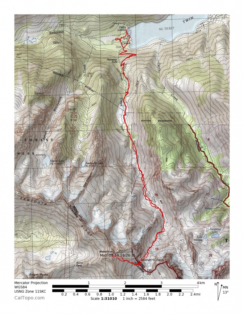 Hoover Wilderness: Matterhorn Peak - Calipidder - Twin Peaks California Map