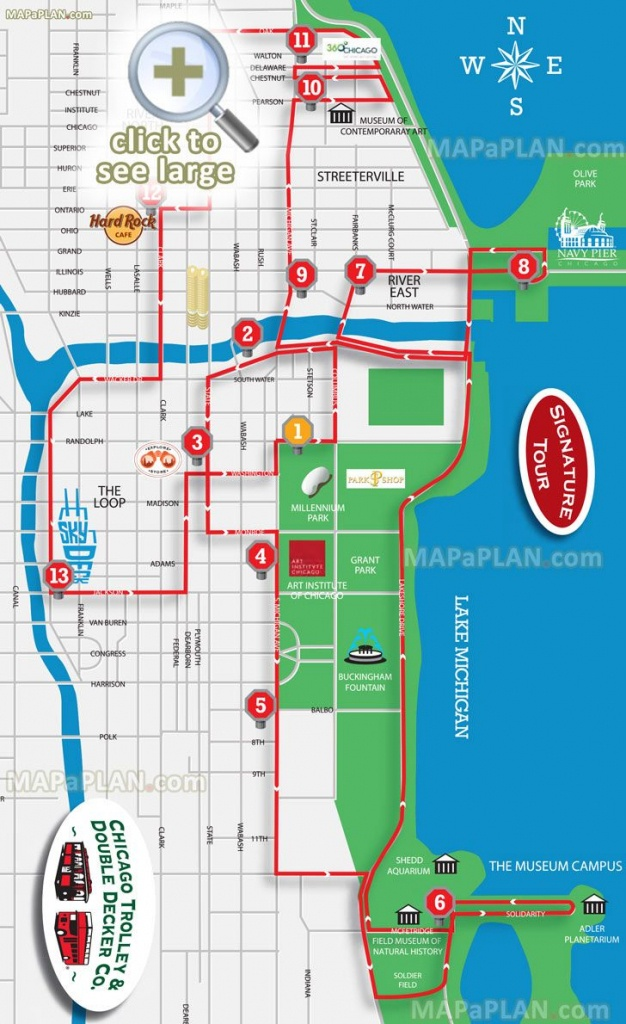 Hop On Hop Off Signature Sightseeing Open Top Double Decker Trolley - Printable Map Of Downtown Chicago Attractions