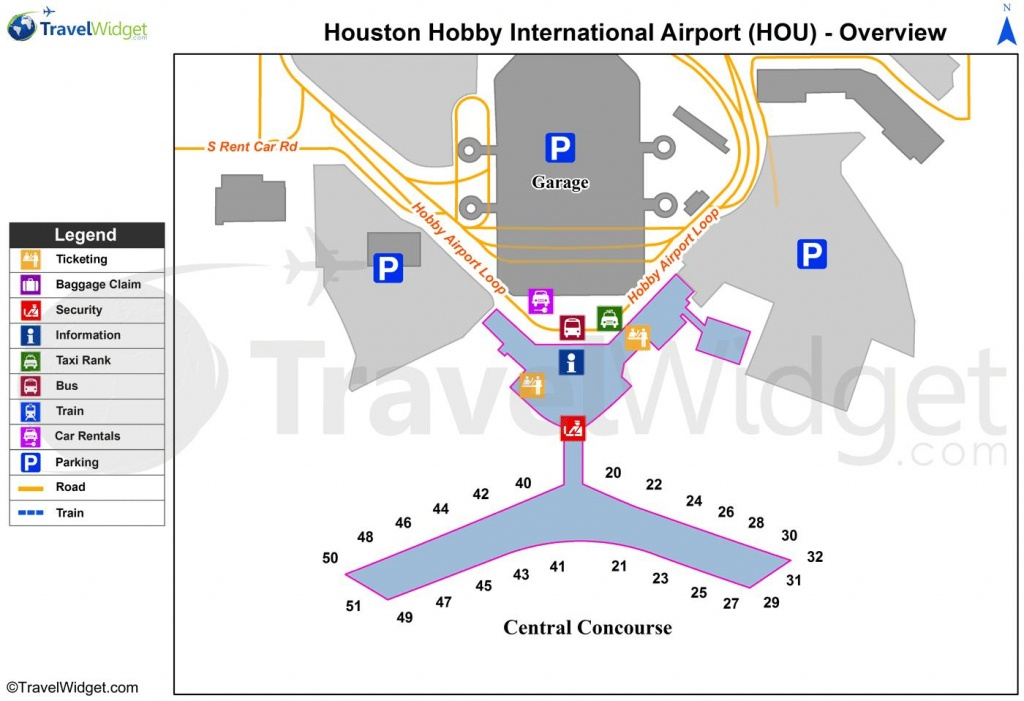 Houston Airport Map - Map Of Houston Airport (Texas - Usa) - Houston Texas Map Airports