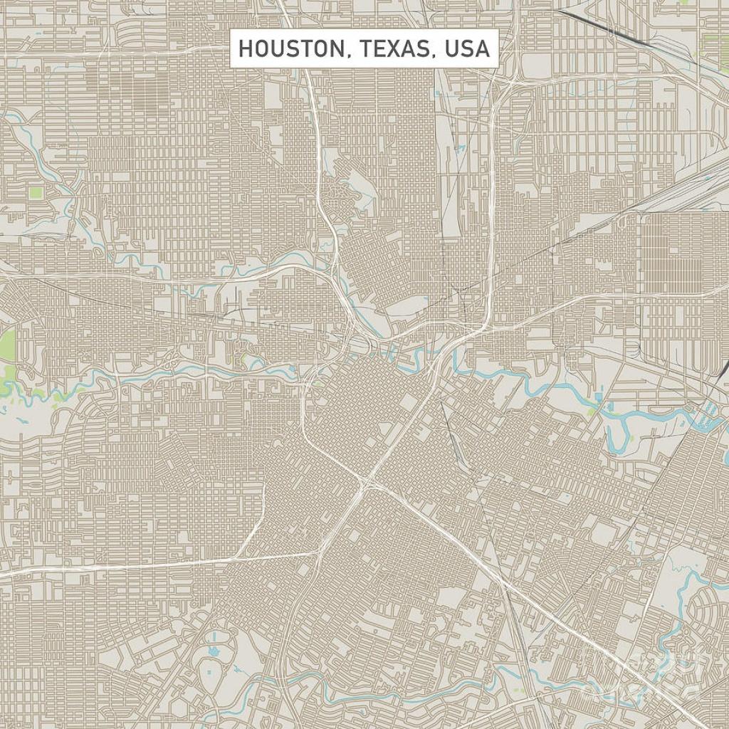 Houston Texas Us City Street Map Digital Artfrank Ramspott - Street Map Of Houston Texas