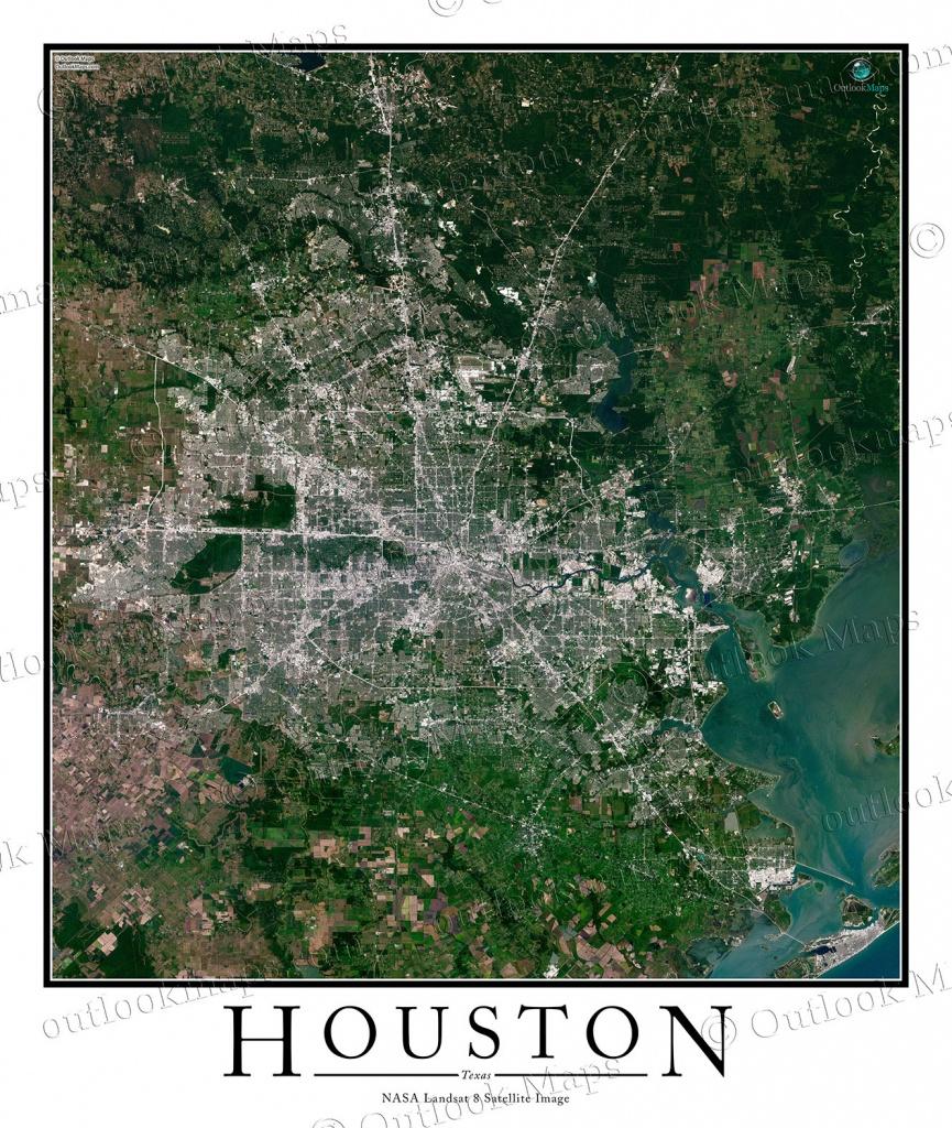 Houston, Tx Area Satellite Map Print | Aerial Image Poster - Satellite Map Of Texas