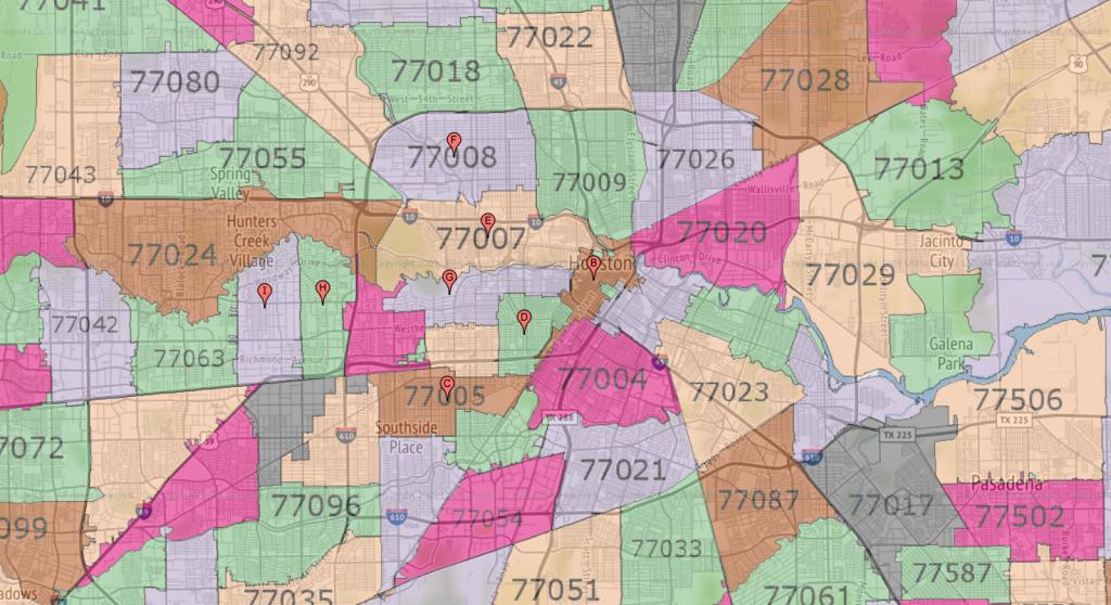 Houston Zip Code Maps   Ameritex Houston Movers - Map Of Northwest Houston Texas