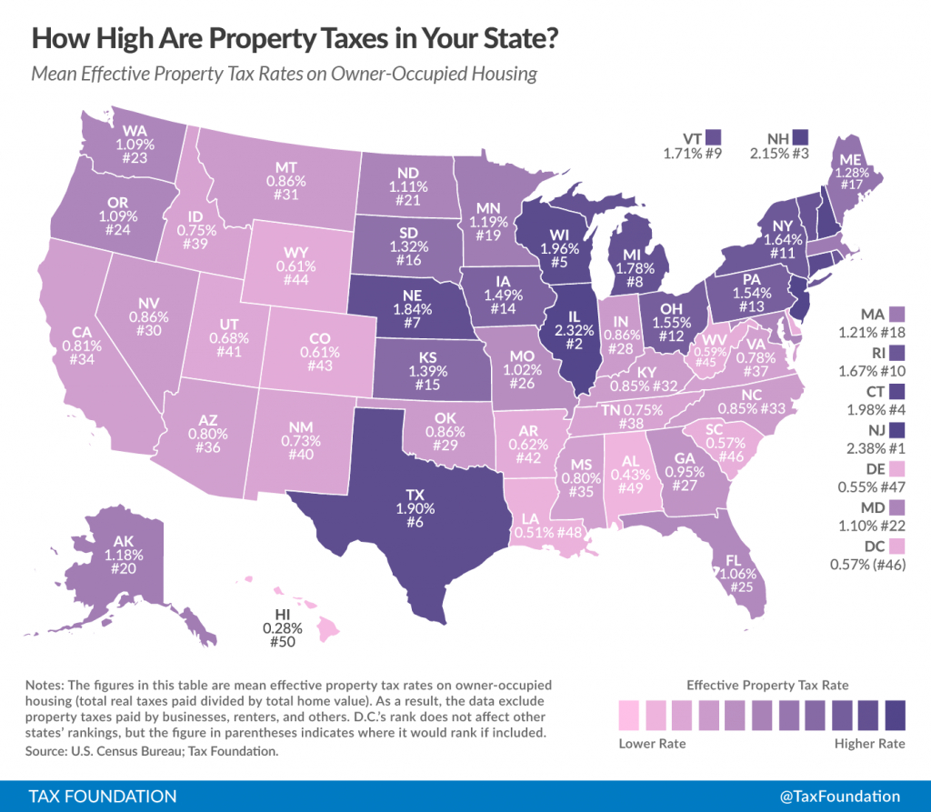 How High Are Property Taxes In Your State?   Tax Foundation - Texas Property Tax Map