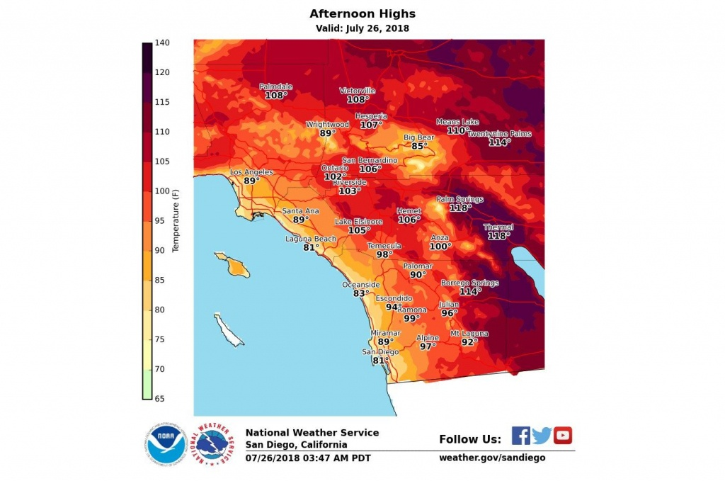 How Long Will Heat Wave Linger Over Southern California? – Orange - Heat Map Southern California