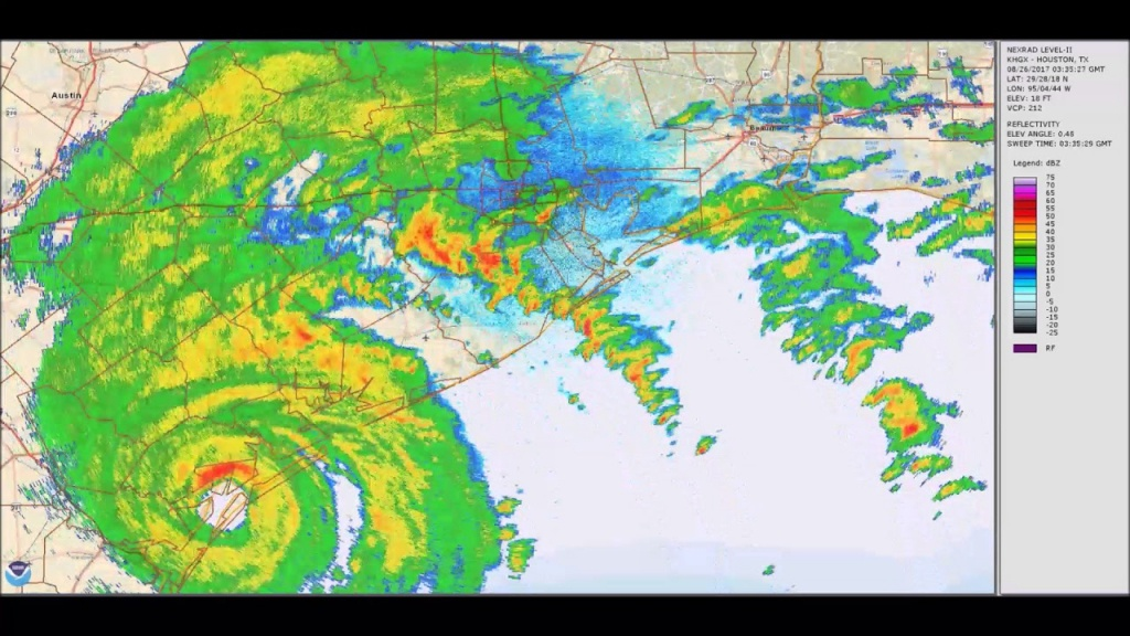 Hurricane Harvey 5-Day Weather-Radar Loop - Youtube - Texas Satellite Weather Map
