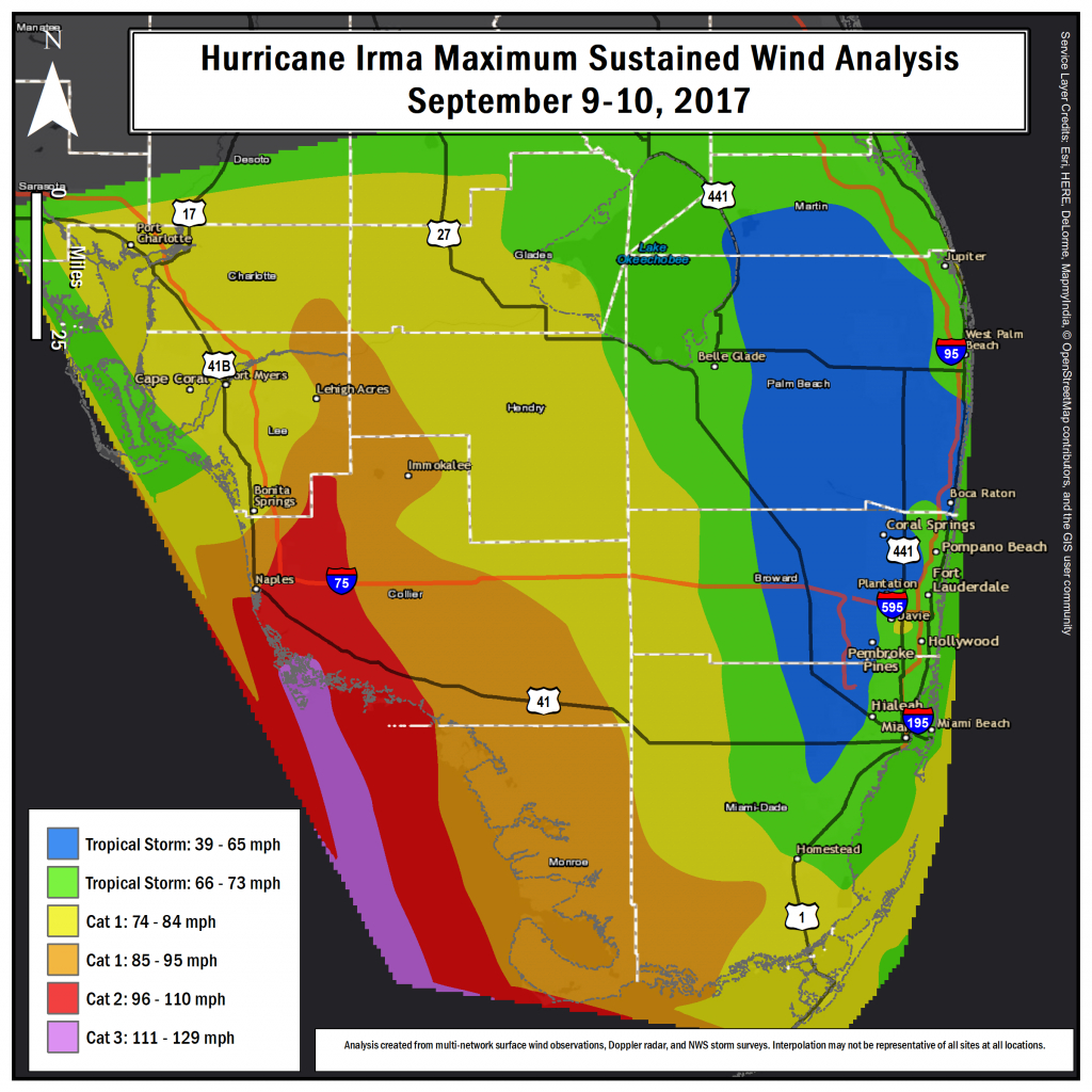 Hurricane Irma Local Report/summary - South Florida Weather Map