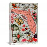 "Icanvas ""state Map Of Florida (Natural Resources)""vintage Poster   Vintage Florida Map Poster"