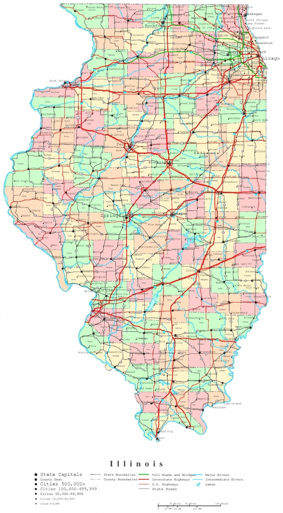 Illinois Printable Map - Illinois County Map With Cities Printable