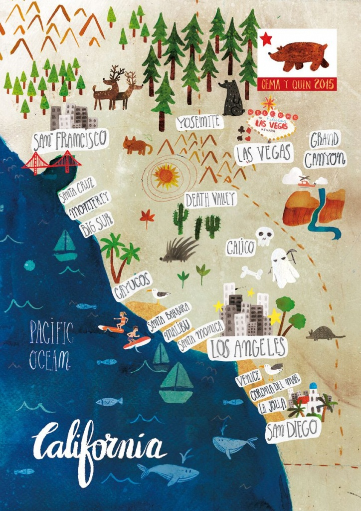 Illustrated Map Of California On Behance. Call Gwin's To Go! 314-822 - Illustrated Map Of California