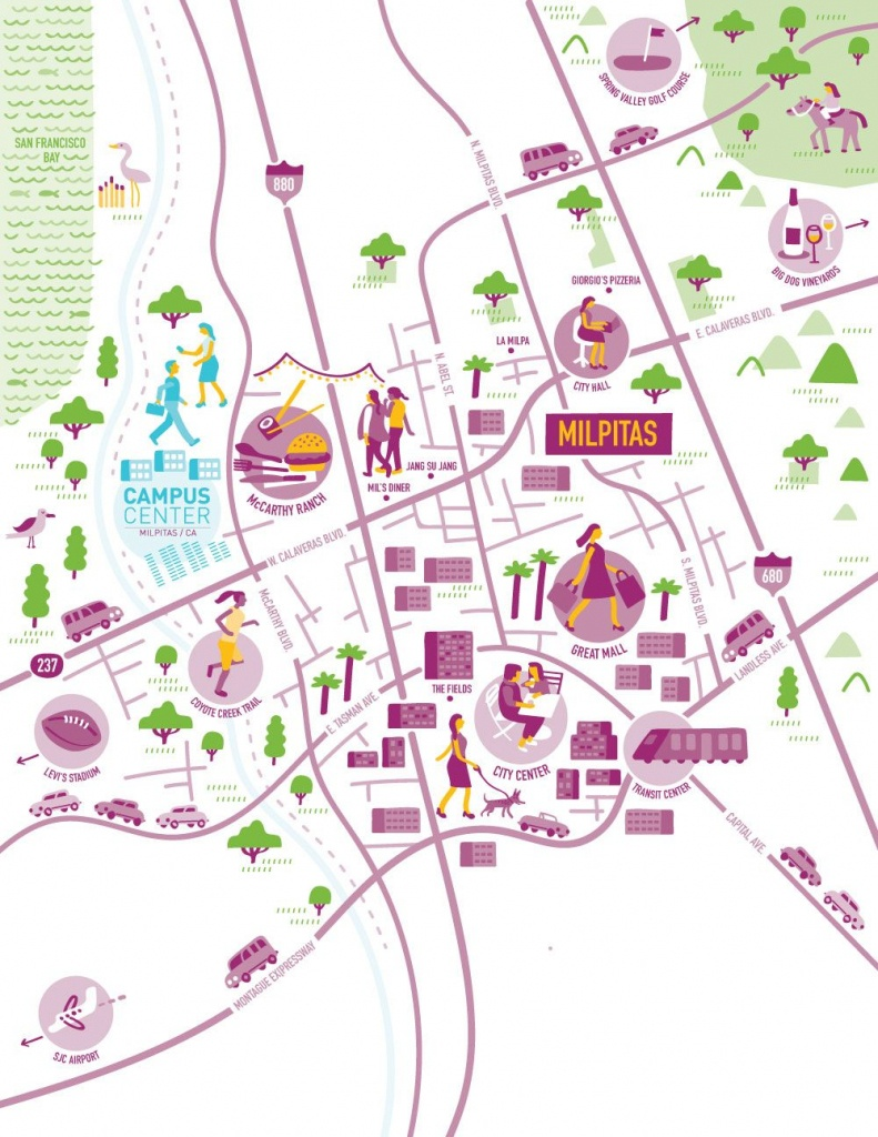 Illustrated Map Of Milpitas, Californianate Padavick For Campus - Milpitas California Map
