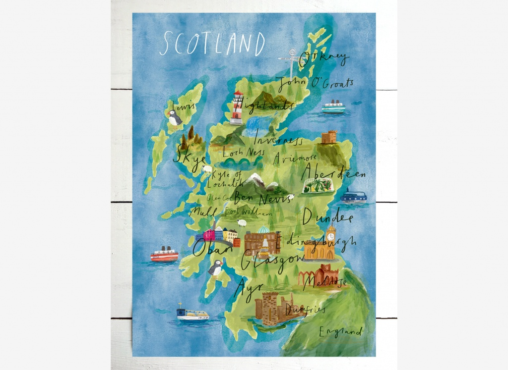 Illustrated Map Of Scotland / Scotland Print / Scotland Map / | Etsy - Printable Map Of Mull