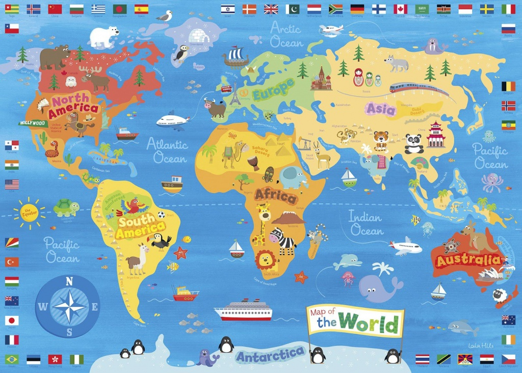 Illustrated Map Of The World For Kids (Children's World Map)   4K - Kid Friendly World Map Printable