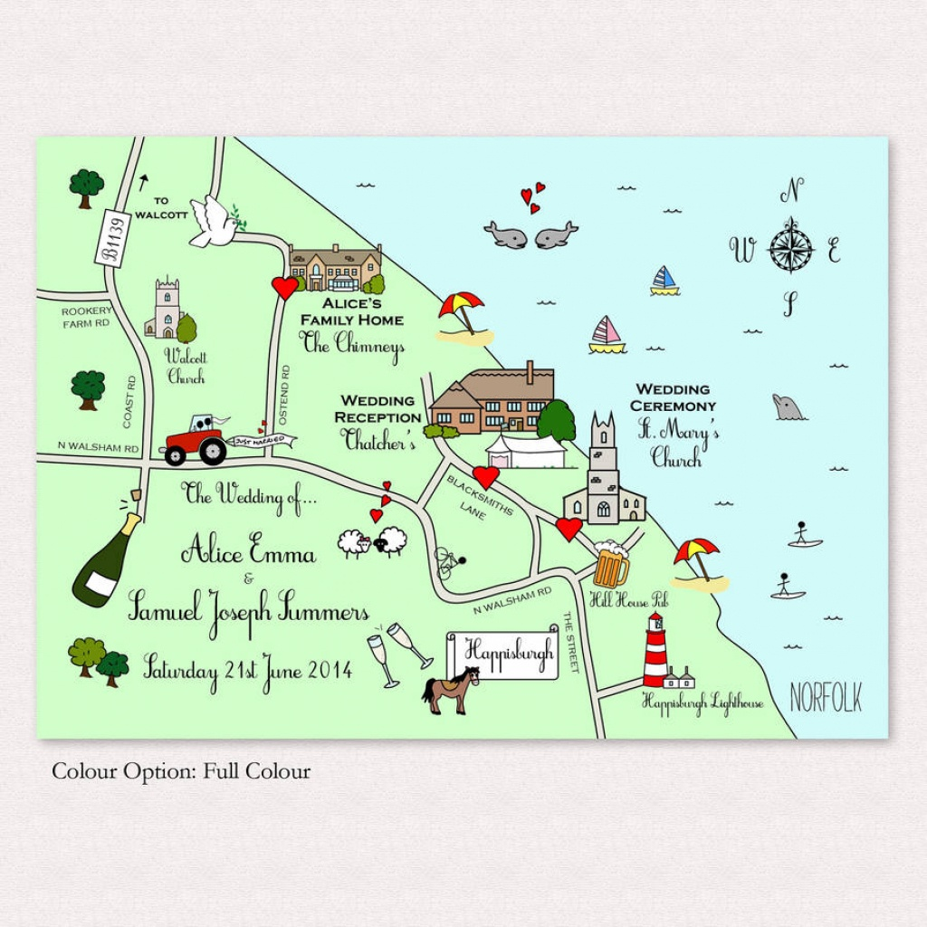 Illustrated Map Wedding Or Party Invitationcute Maps - Free Printable Wedding Maps