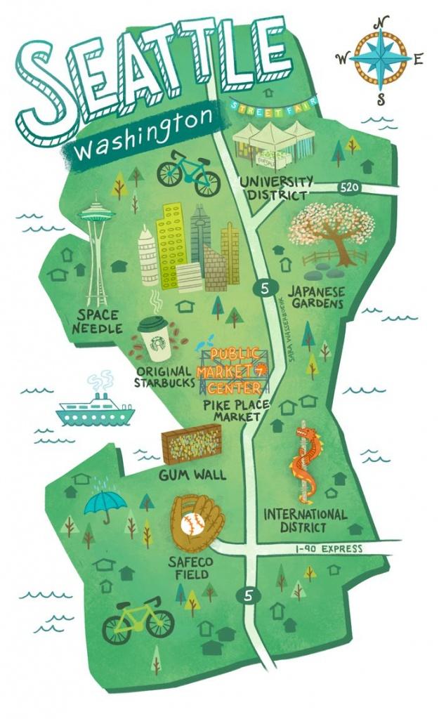 Illustrated Maps Of Atlanta, Ga, Austin, Tx, And Seattle, Wa For The - Texas Rut Map