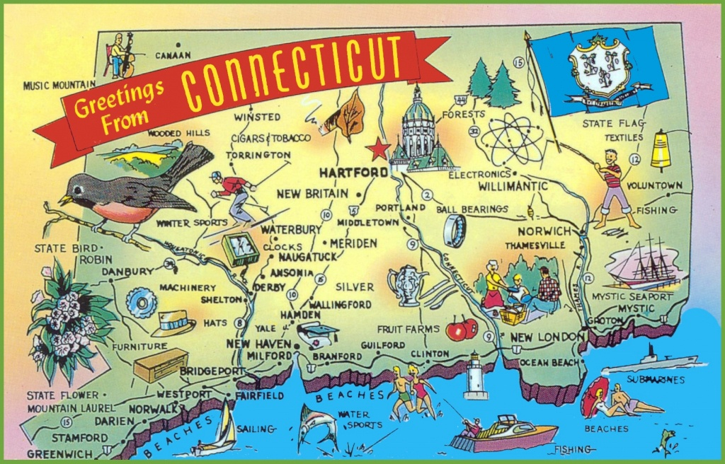 Illustrated Tourist Map Of Connecticut - Printable Map Of Connecticut