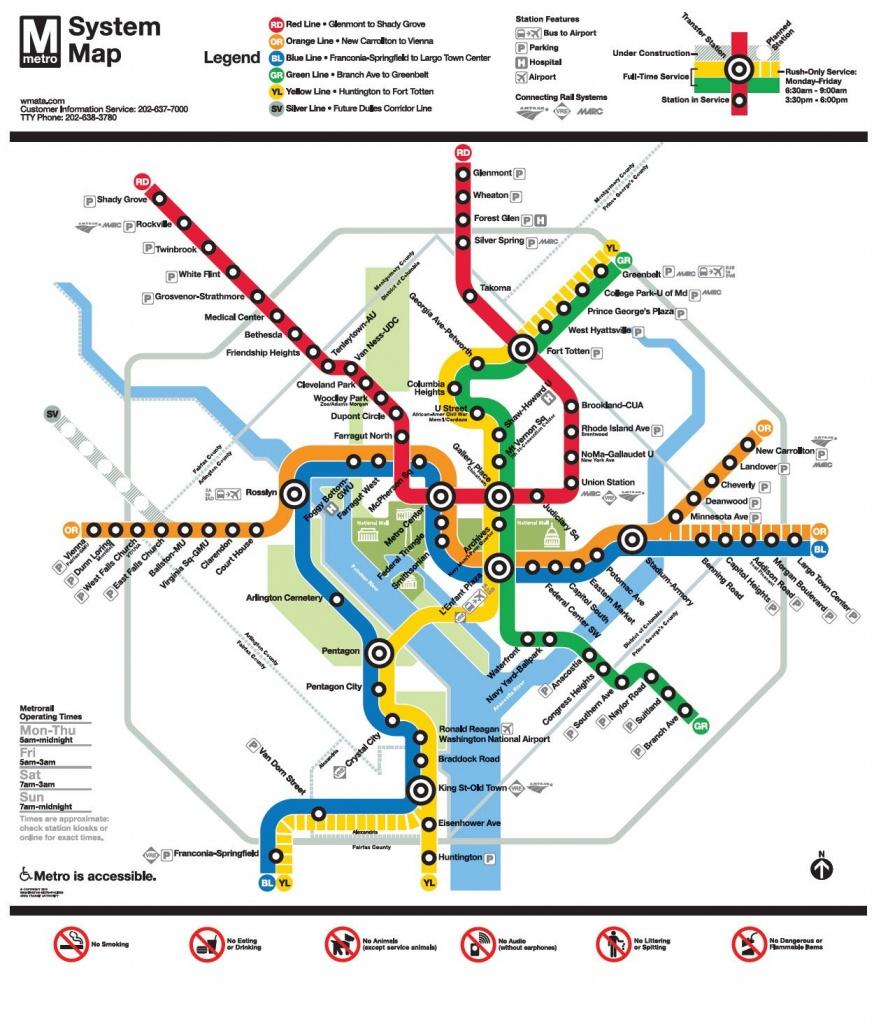 Image Result For Wmata Map | Ui Feature - Nidc【2019】 | Washington - Printable Metro Map Of Washington Dc
