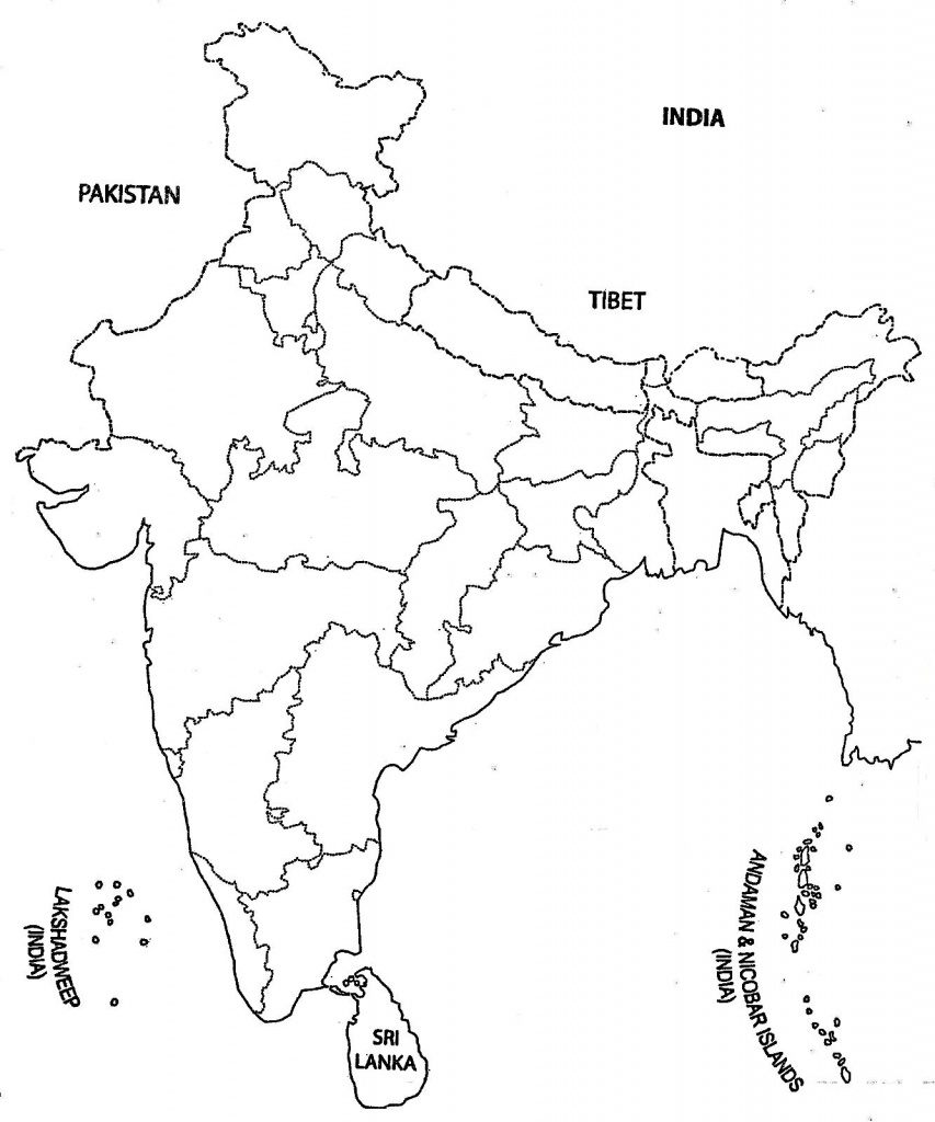 India Map Outline A4 Size | Map Of India With States | India Map - Printable Outline Map Of India