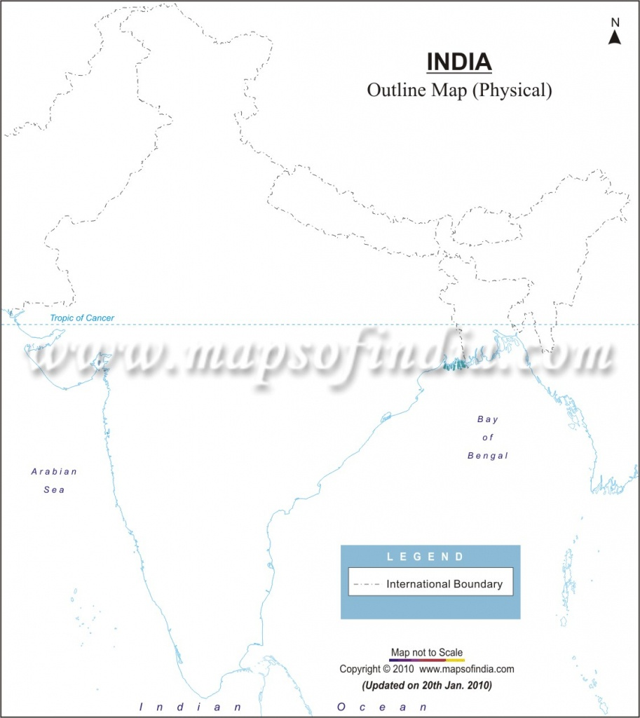 India Physical Map In A4 Size - Physical Map Of India Printable