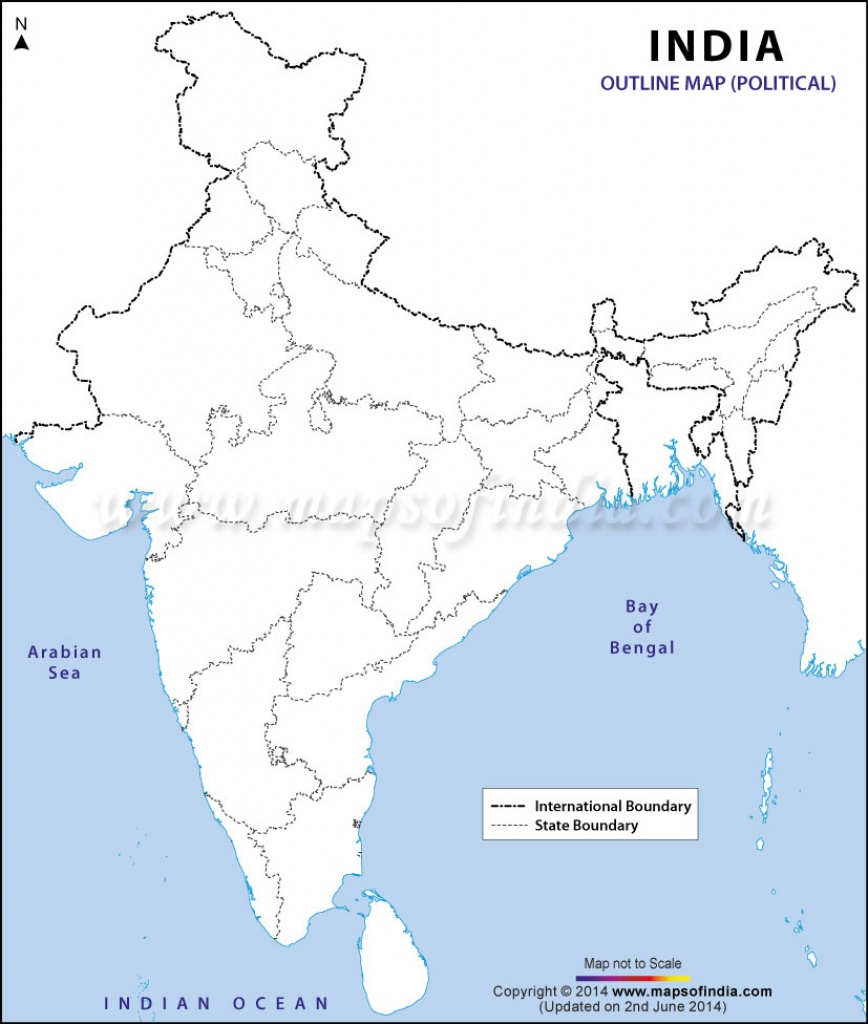 India Political Map In A4 Size - Printable Outline Map Of India