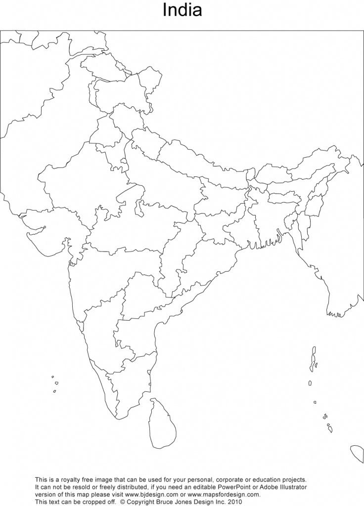 India Printable, Blank Maps, Outline Maps • Royalty Free - Blank Political Map Of India Printable